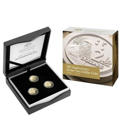 2018 30th Anniversary $2 Coin Proof Trio Set - RARE, VERY LOW MINTAGE OF 1,988!!