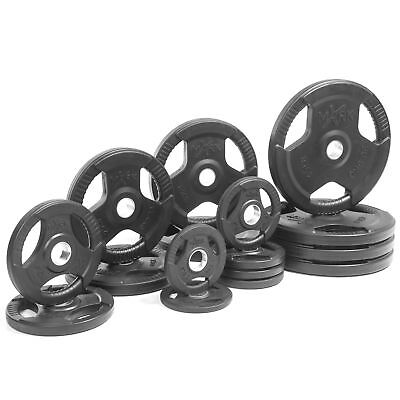 XMark Fitness Premium Quality Rubber Coated Tri-grip Olympic Plate Weights XM...