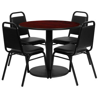 36'' Round Mahogany Laminate Table Set with 4 Black Trapezoidal Back Banquet ...