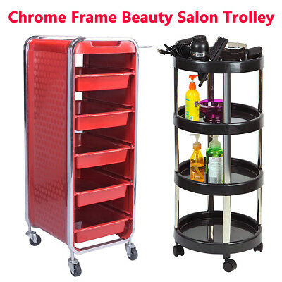 Chrome Frame Mobile Sturdy Beauty Spa Salon Trolley Hairdressing Storage Cart