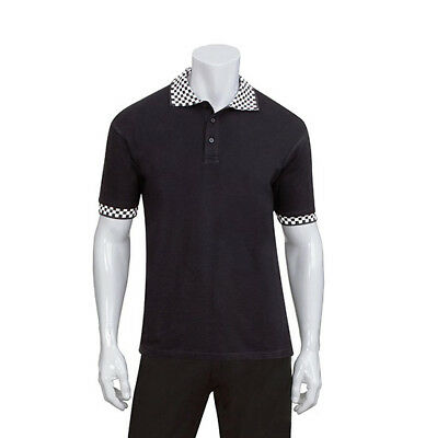 Polo Shirt Black & Check Hospitality Delivery Cook Chef Uniform Chefworks Small