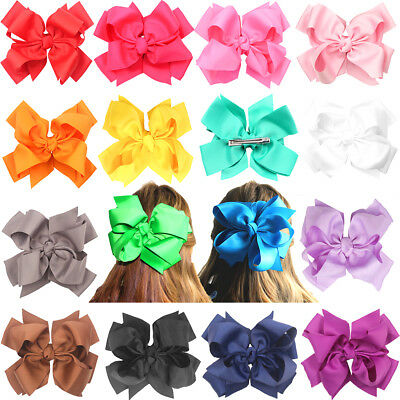 16pcs 7 Inches Big Dual Layer Hair Bows Alligator Hair Clip For Prom Dress Party
