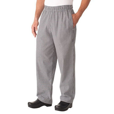 Chef Baggy Pants B&W Checked Hospitality Uniform Cook Chefworks Extra Small