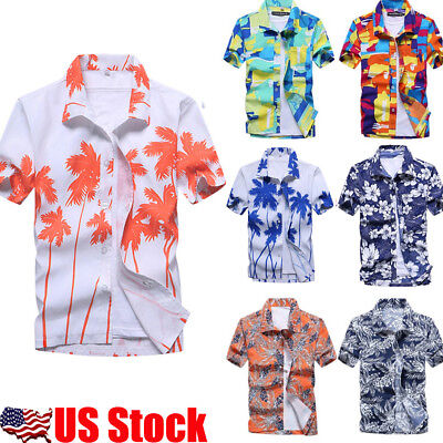 Men's Hawaiian Shirt Summer Floral Print Holiday Beach Short Sleeve Tops Blouse
