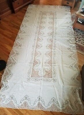 Vtg antique very large tablecloth linen lace crochet embroidery white clean euc