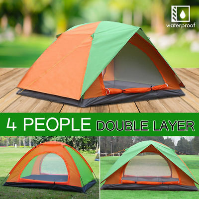 Double Layer Pop Up Camping Tent 4 Person Outdoor Waterproof Shelter Camping