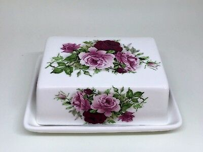 BN Summertime Rose China Butter Dish, Shabby Chic Butter Dish, Butter Holder