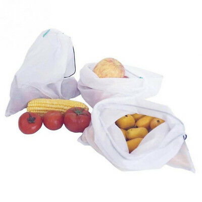 2/5X Eco Friendly Reusable Mesh Produce Bags Superior Double-Stitched Strength