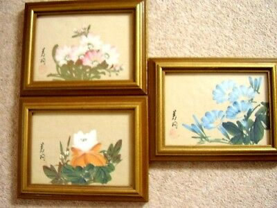 Japanese Signed Silk Painting Flowers picture Framed,21 cm X 17 cm, set of 3