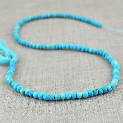 38.50 Cts / 13 Inches Natural Untreated Drilled Turquoise Faceted Beads Strand