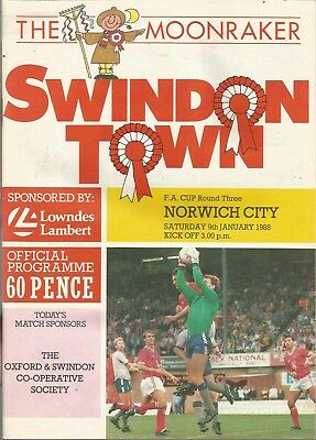 Swindon Town v Norwich City - FA Cup - 9/1/1988 - Football Programme