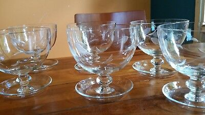 Six Vintage Etched Crystal Compote Dishes / Glasses