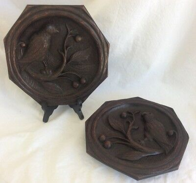 Pair Of Gorgeous Antique 19th C. Black Wood Hand Carved Birds Plaques