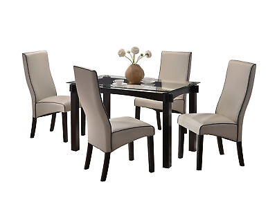 Pilaster Designs - Wood and Glass Dining Dinette Set (Table & 4 Chairs, Gray)