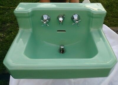 Vtg Standard Jade Ming Green Porcelain Cast Iron Shelf Back Bath Sink