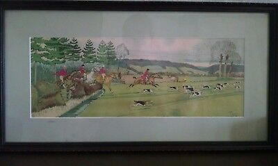 """Vintage Harry Eliott Lithograph """"fox Hunt"""" Scene W/ Dogs And Horses"""