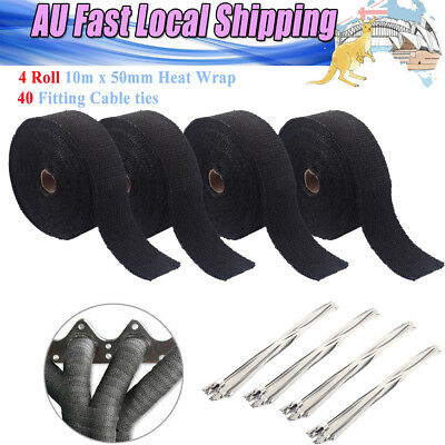 Black Exhaust Pipe Heat Insulation Wrap 40M X 50Mm + 40 Stainless Steel Ties