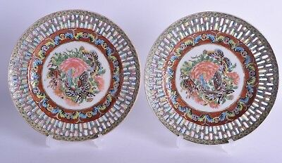 fine pair 19th c chinese canton famille rose canton enamel porcelain dish plate