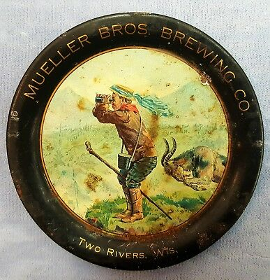 Rare Antique Tin Litho Tip Tray Mueller Bros Brewing Co Two Rivers Wisconsin Wi