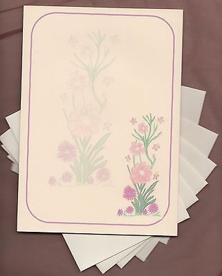 pink flowers butterfly watermark letter writing paper envelopes stationery set