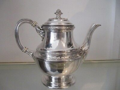Early 20th c french silverplate Gallia christofle teapot Louis XVI st laurels