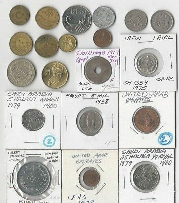 Lot Of 20 Middle Eastern Coins. Syria, Lebanon, Egypt, Israel, Etc. See Pics