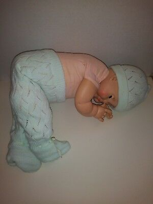 Vintage Medium Doll Baby Infant Factory Knit Mint Green Pants Hat Cap Set