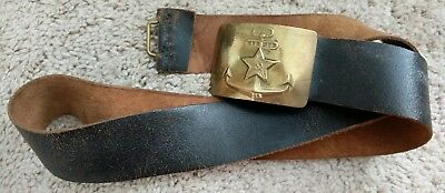 Vintage Soviet Russian Military Navy Black Leather Belt With Brass Buckle