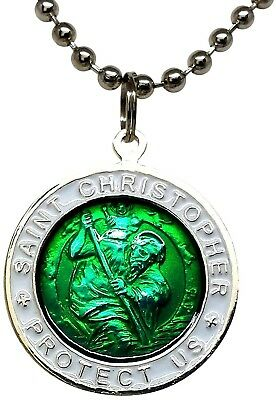 St. Christopher Surf Necklace Large Pendant Green With White Rim 23 Inch Chain