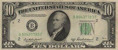 10 Dollars Serie 1950B District New York EF Kat.-Fr.2012B