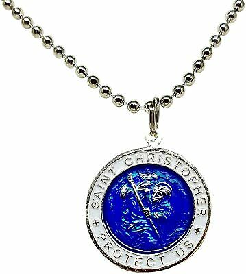 St. Christopher Surf Necklace Large Pendant Royal Blue With White Rim 23 Inches