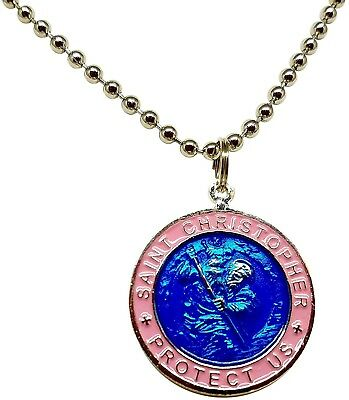 St. Christopher Surf Necklace Large Pendant Royal Blue With Pink Rim 23 Inches