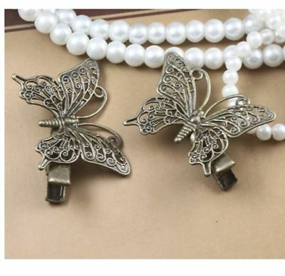 4pcs Filigree Butterfly Hairpins Clips Findings Antique Bronze