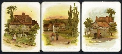 MARCUS WARD 3 Victorian Cards 1880's CHRISTMAS Country Houses Cottages