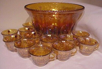 Vintage Indiana Harvest Gold Amber Carnival Glass Grape Punch Bowl With 12 Cups