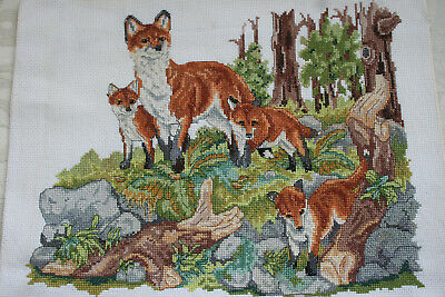 "Vintage Hand Worked Cross Stitch Panel Fox Family 12"" x 10"""