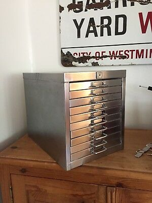 VINTAGE INDUSTRIAL STRIPPED METAL 10 DRAWER CABINET DRAWERS coin pen collectable