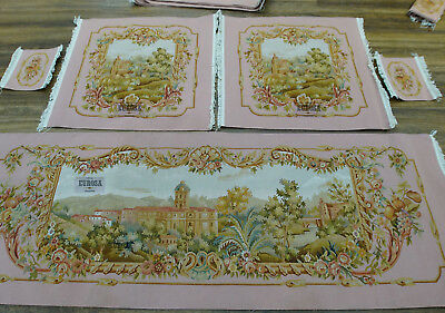 Vintage Castel Louis XIV AUBUSSON Hand Woven Sofa Cover SILK WOOL Pink Swirls