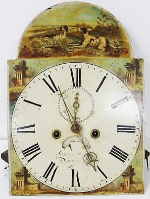English Antique Grandfather Clock Striking Longcase Movement & Painted Dial