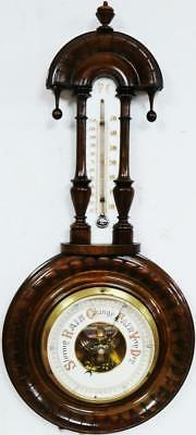 Nice Antique French Tear Drop  F.C Carved Mahogany Wall Barometer & Thermometer
