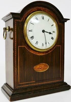 Antique French 8 Day Mahogany Inlaid Mantel Desk Clock Platform Escapement C1900