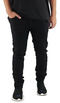 08589539bcd Men's Distressed Biker Skinny Jeans Bleached BLACK Skinny Pants Denim  Destroyed