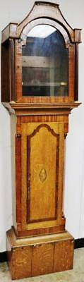 Nice Antique Grandfather Carved Inlaid Mahogany Longcase Clock Case Only C1800
