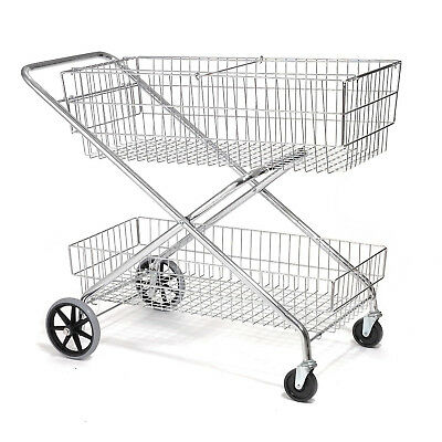 "Wire Utility Basket Mail Cart 200 Lb. Capacity, 44""L x 22""W x 35""H, Lot of 1"
