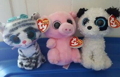 """TY Beanie Boo lot - Posey, Gatsby & Quinn 6"""" Exclusives"""