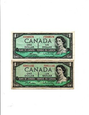 2- 1954 Bank Of Canada One Dollar Bank Notes,  Canada Currency