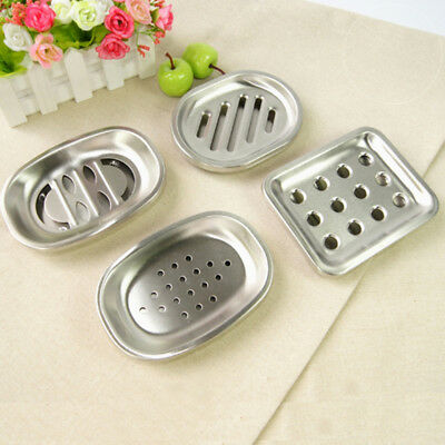 Bathroom Stainless Steel Holes Soap Dish Storage Holder Soapbox Plate Tray BF1