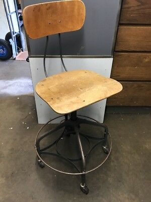 Antique UHL Industrial Chair TOLEDO Metal SWIVEL Drafting Adjustable Stool (#2