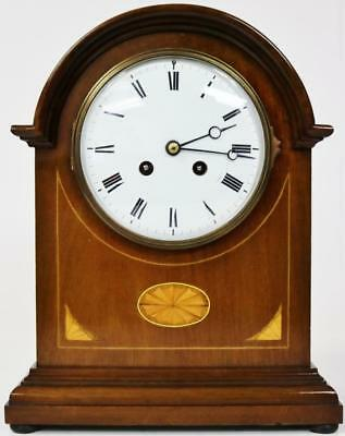 Antique French Inlaid Mahogany Striking 8 Day Mantel Desk Clock by Japy Freres