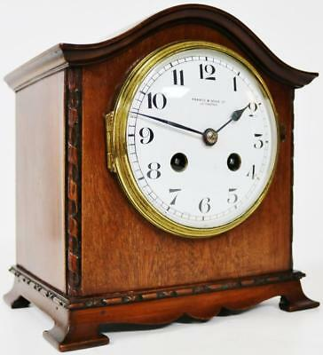 Antique 8 Day French Carved Mahogany Gong Striking Mantel Clock Pierce & Sons